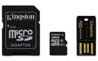 32GB Kingston - MicroSDHC Mobility Kit (Memory Card/SD Adapter/USB reader) (Class 10)