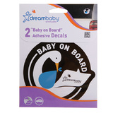 Dreambaby 'Baby on Board' Stickers - Blue Stork (2pk)