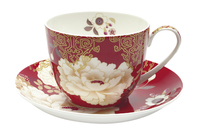 Maxwell & Williams Kimono Breakfast Cup & Saucer 480ML Red Gift Boxed