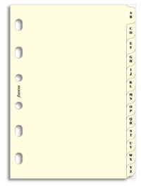 Filofax - Pocket A-Z Index, 2 Letters/Tab - Cream