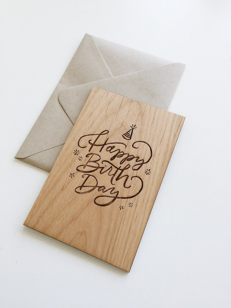 Cardtorial Wooden Card - Happy Birthday Party Hat image