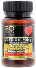 Go Healthy: GO Co-Q10 300mg + Vit D (30 Capsules)