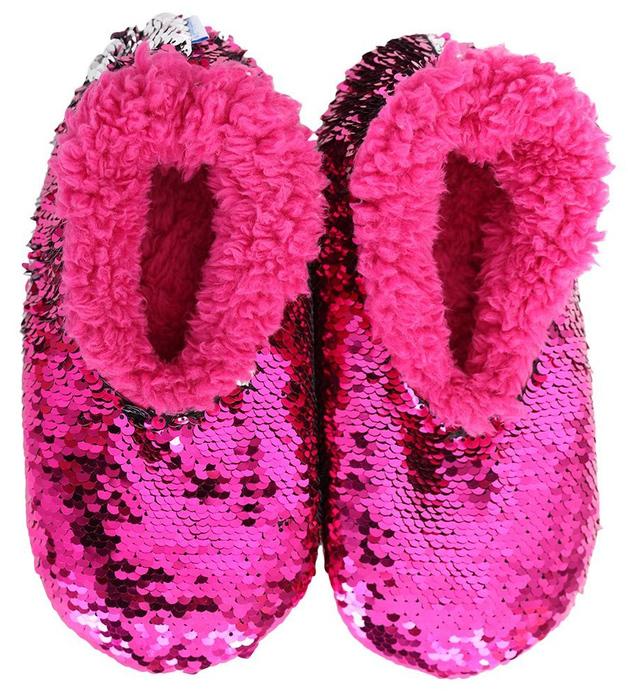 Slumbies: Pink Reversible Sequin - Kids Slippers (Large)