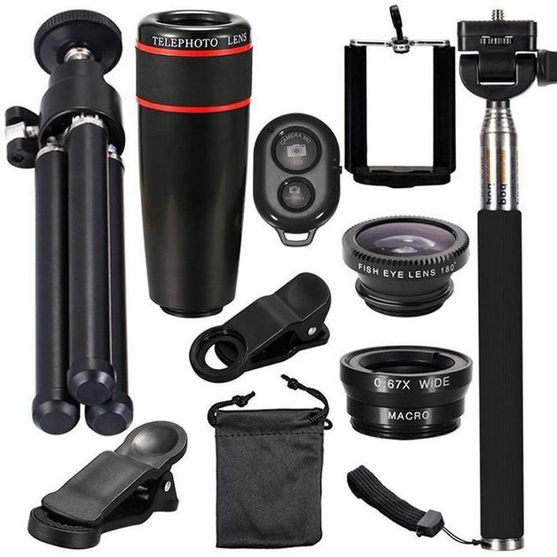 10-in-1 Mobile Phone Lens Set - Black