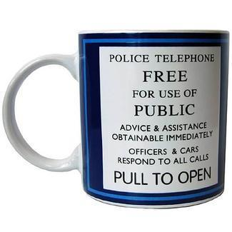 Doctor Who Tardis Police Telephone Sign Mug