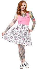 Sourpuss Creep Heart Swing Skirt (Large)