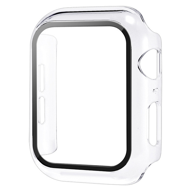 44mm Built-in Thin HD Tempered Glass Screen Apple Watch Protector Case - Transparent
