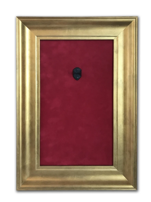 """Axe Heaven: Mini Guitar Display Frame - Deep Red Suede/Warm Gold Leafing (12"""" x 18"""")"""