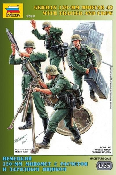 Zvezda: 1/35 German Mortar W/trailer & Crew Model Kit
