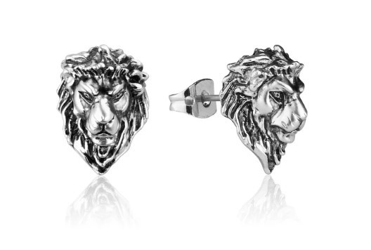 Couture Kingdom: Disney The Lion King Adult Simba Stud Earrings - White Gold