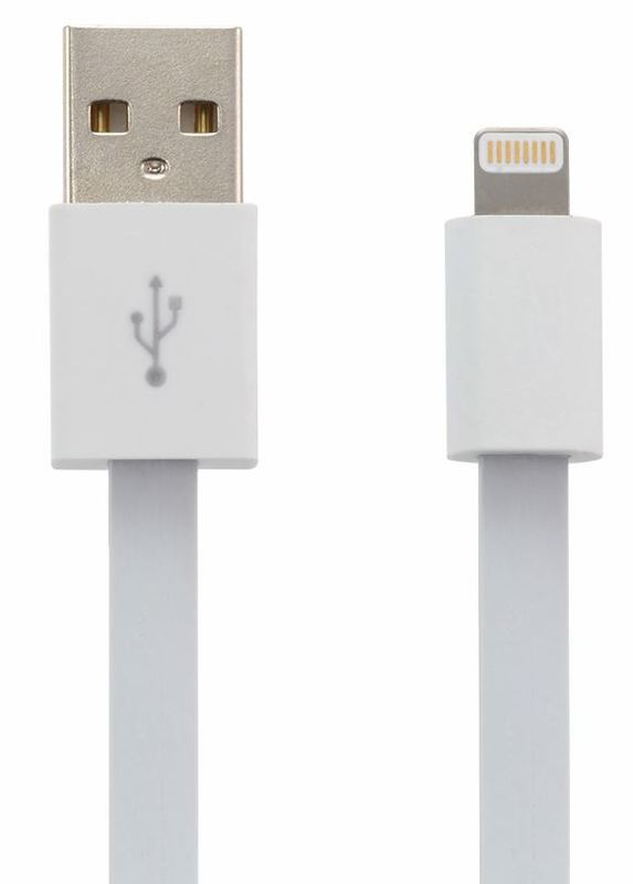Moki King Size Lightning SynCharge Cable Flat - White 3m