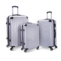 Milano Abs Luxury Shockproof Luggage - Silver (3Pcs/Set)