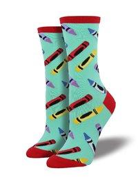 Womens - Winter Green Crayon Crew Socks