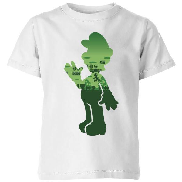 Nintendo Super Mario Luigi Silhouette Kids' T-Shirt - White - 9-10 Years image
