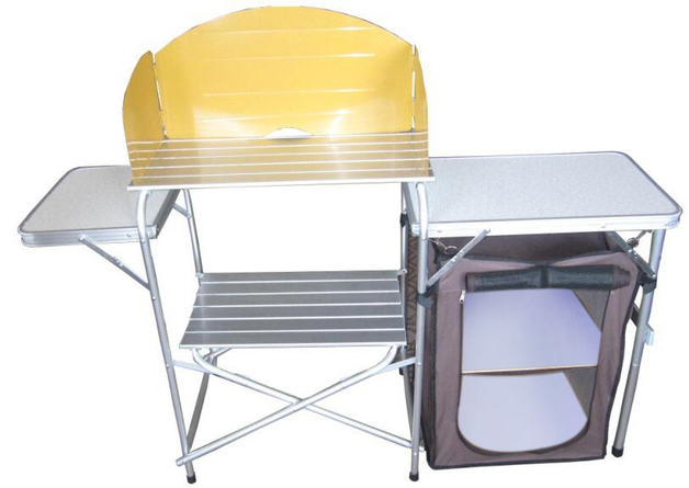 Foldable Camping Kitchen with Cupboard and Side Table
