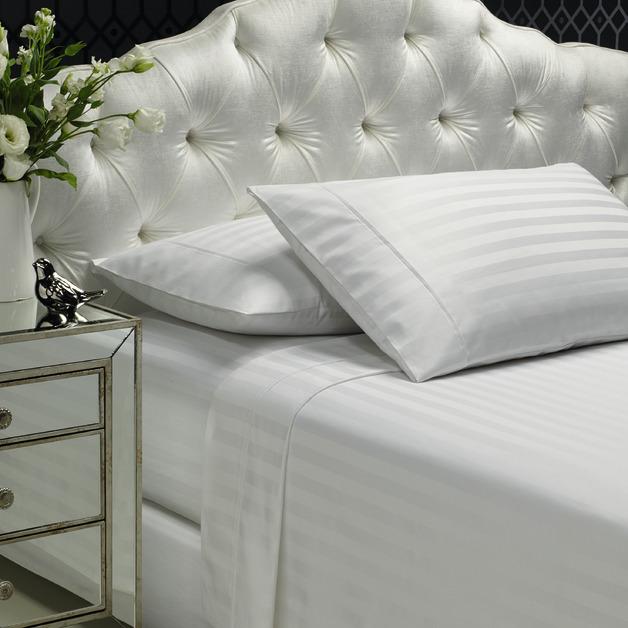 Style & Co: 1000 Thread Count Egyptian Cotton Stripe Sheet Sets - Mega Queen (White)