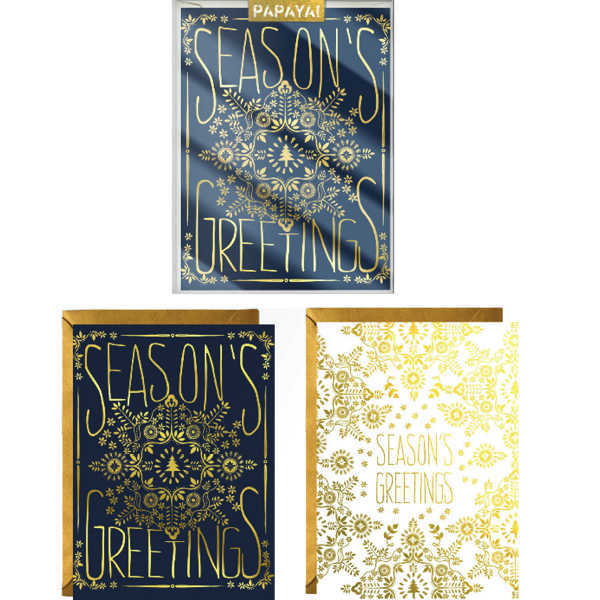Papaya: Boxed Christmas Cards - Guilded Holiday Pack of 6