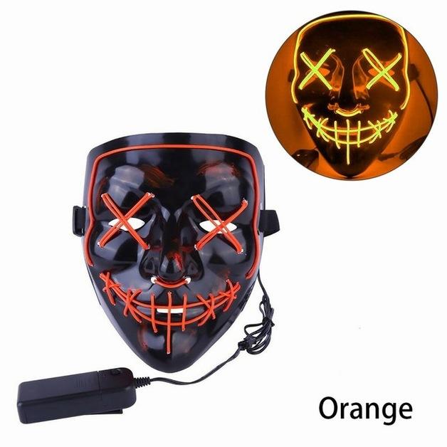 Halloween Scary Purge Costume Mask - Light Up LED Cosplay Creepy Masks