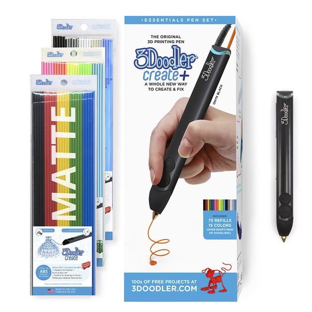 3Doodler: Create+ Essentials 3D Printing Pen Set - Onyx Black