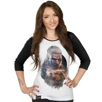 The Witcher 3 Geralt Women's Raglan Tee (Large)