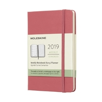 Moleskine: 2019 Pocket Hard Cover 12-Month Weekly Notebook Planner - Daisy Pink