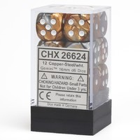 Chessex Gemini 16mm D6 Dice Block: Copper-Steel/White