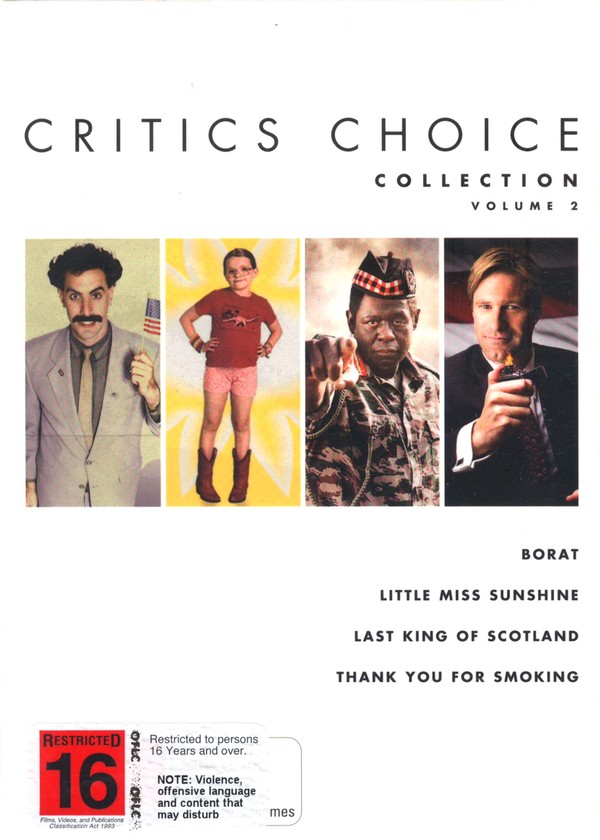 Critics Choice Collection - Vol. 2 (Borat / Little Miss Sunshine / Last King Of Scotland / Thank You For Smoking) (4 Disc Set) on DVD image