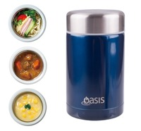 Oasis Stainless Steel Insulated Food Flask - Navy (450ml)