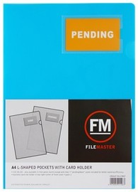 FM A4 L Shape Pockets with Card Holder - Ice Blue (Pack 3)