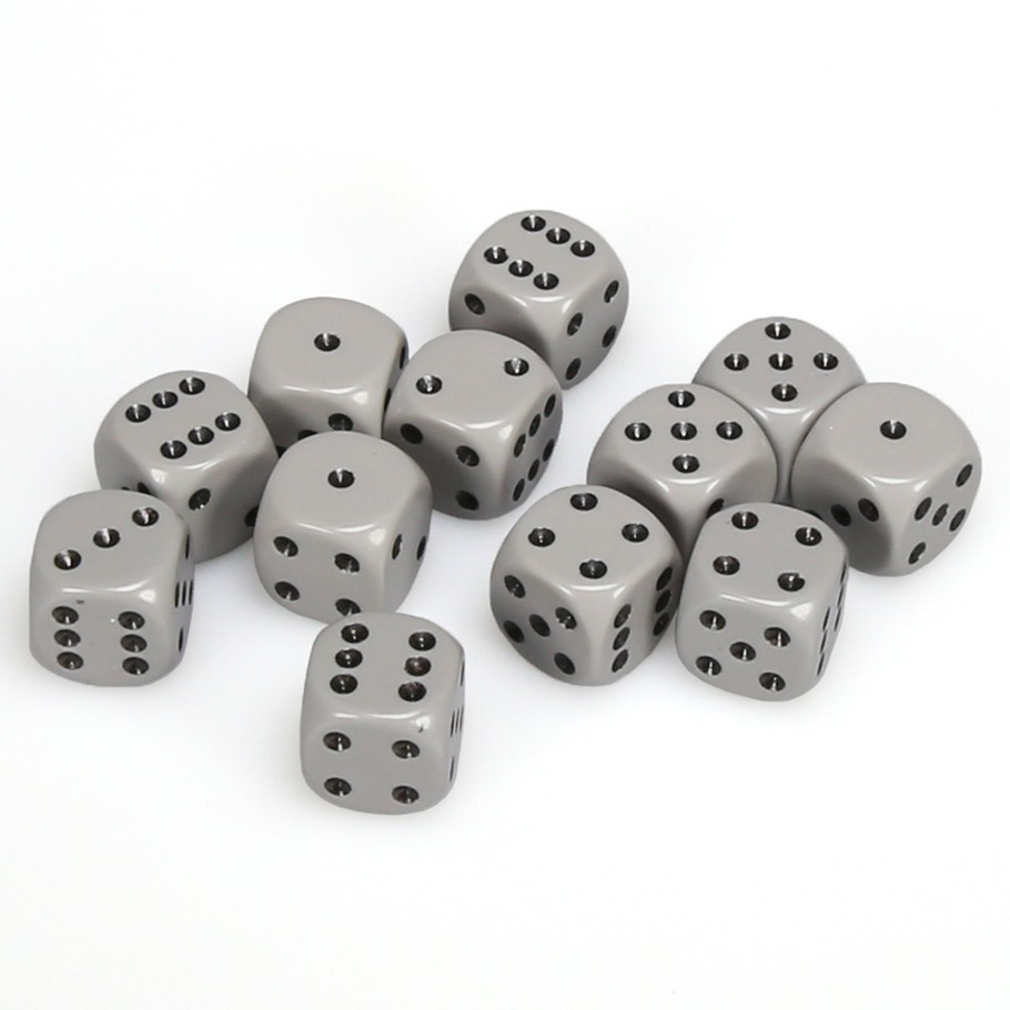 Chessex: D6 Opaque Cube Set (16mm) - Grey/Black image