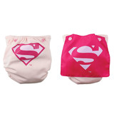 Bumkins DC Comics Snap in One Nappy with Cape - Pink Superman
