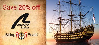 20% off Billing Boats & Artesania Latina