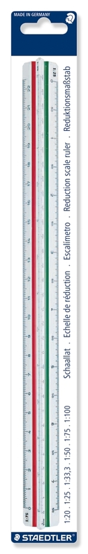 Staedtler: Mars Triangular Reduction Scale Rule - Scales: 1:20, 1:25, 1:33, 1:50, 1:75