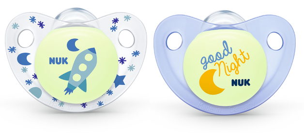 NUK: Glow in the Dark Soother - 6-18 Months (2 Pack) - Blue