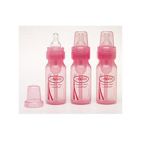 120ml Bottle with Level 1 Teat Narrow Neck (3 Pack Pink)