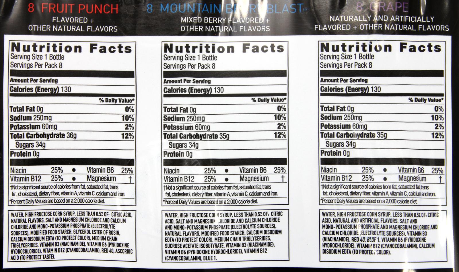 powerade nutrition facts - powerade label nutrition facts
