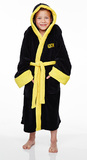Rocky Black Kids Dressing Gown with Hood (Large)