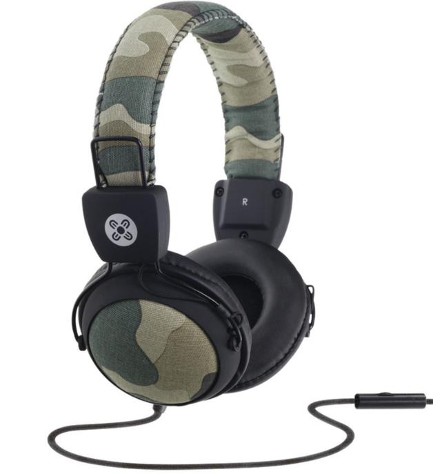 Moki Camo In-line Mic Green Headphones