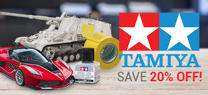Save 20% off Tamiya!