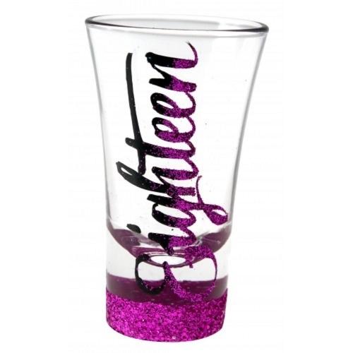 Glitter Script: Eighteen Pink Glitter Shot Glass image