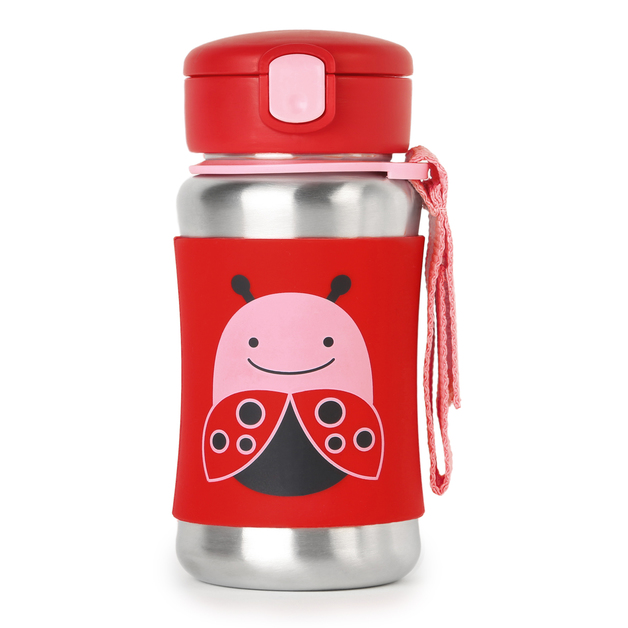 Skip Hop: Zoo Stainless Steel Straw Bottle - Ladybug
