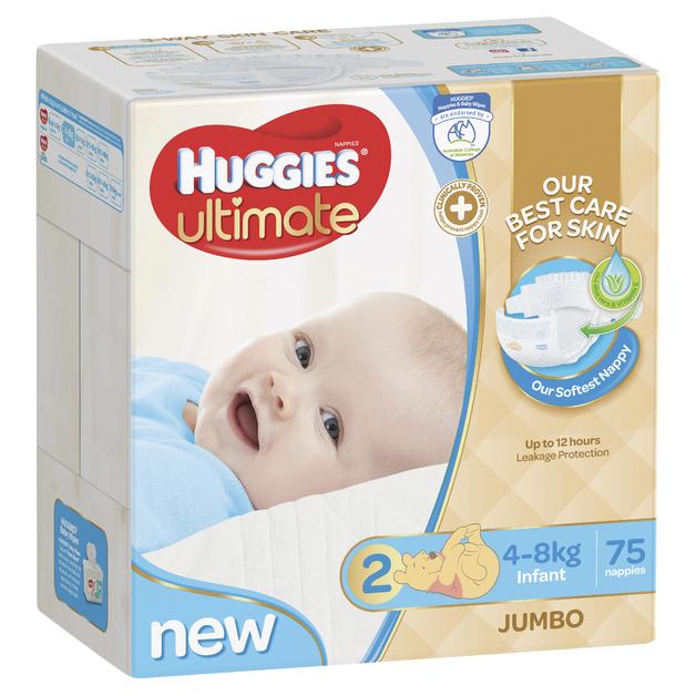 Huggies Ultimate Nappies: Jumbo Pack - Infant Boy 4-8kg (75)