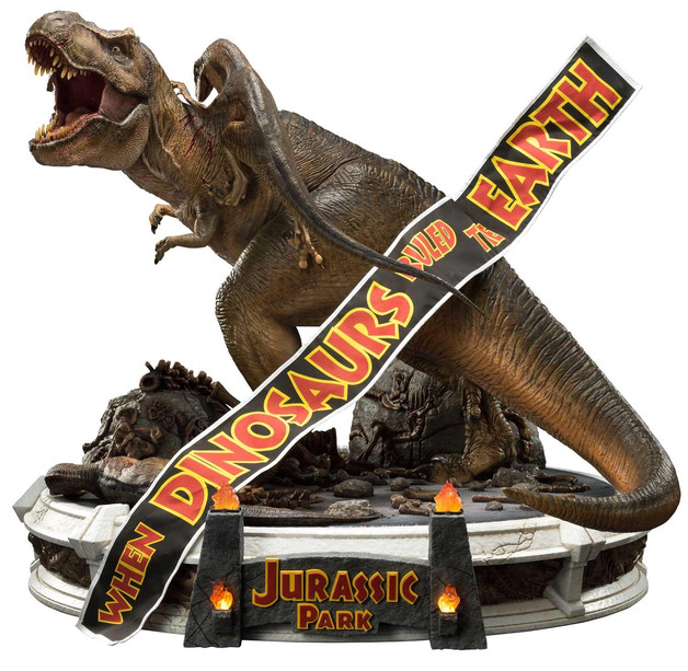 """Jurassic Park: T-Rex vs Velociraptors - 26"""" Premium Statue"""
