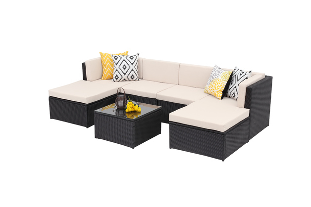 Rattan Wicker Outdoor Sofa Paradise Lounge Set 1 - Beige/Black