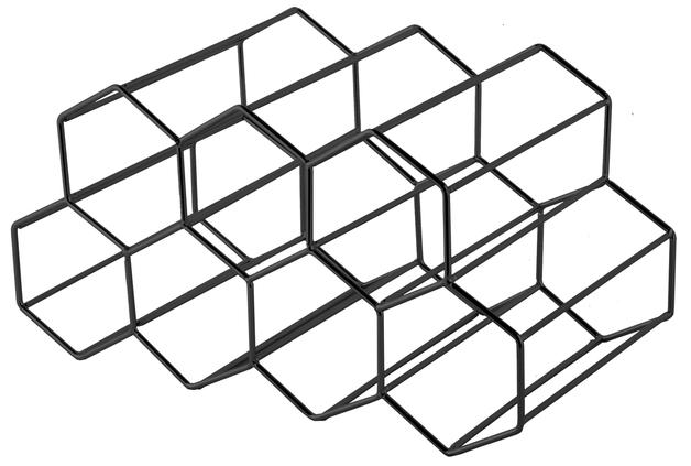 Hexagonal Wine Rack 9 Bottle - Black