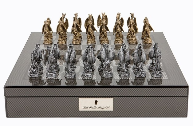 "Dal Rossi: Mystical Dragons - 16"" Pewter Chess Set (Carbon Fibre)"