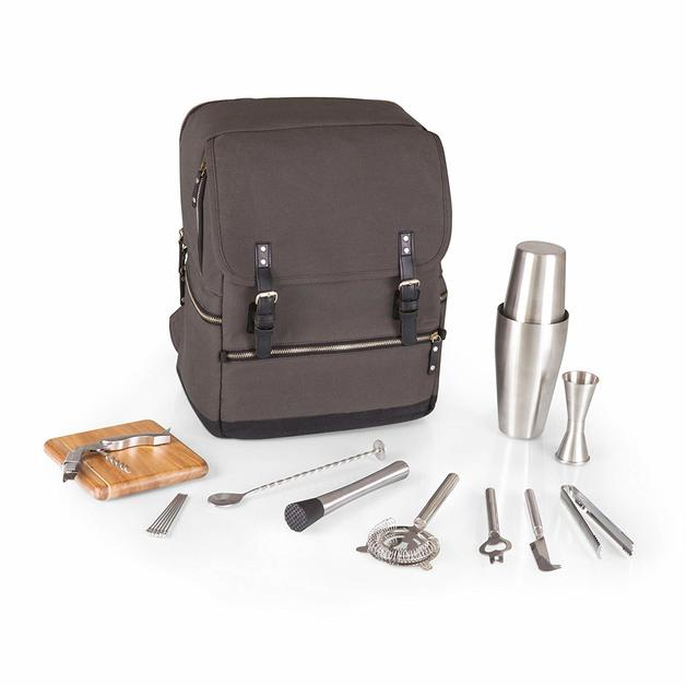 Picnic Time: Bar-BackPack Portable Cocktail Set (Grey)
