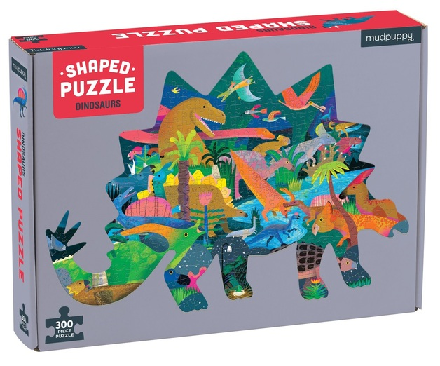 Mudpuppy: 300-Piece Shaped Scene Puzzle - Dinosaurs