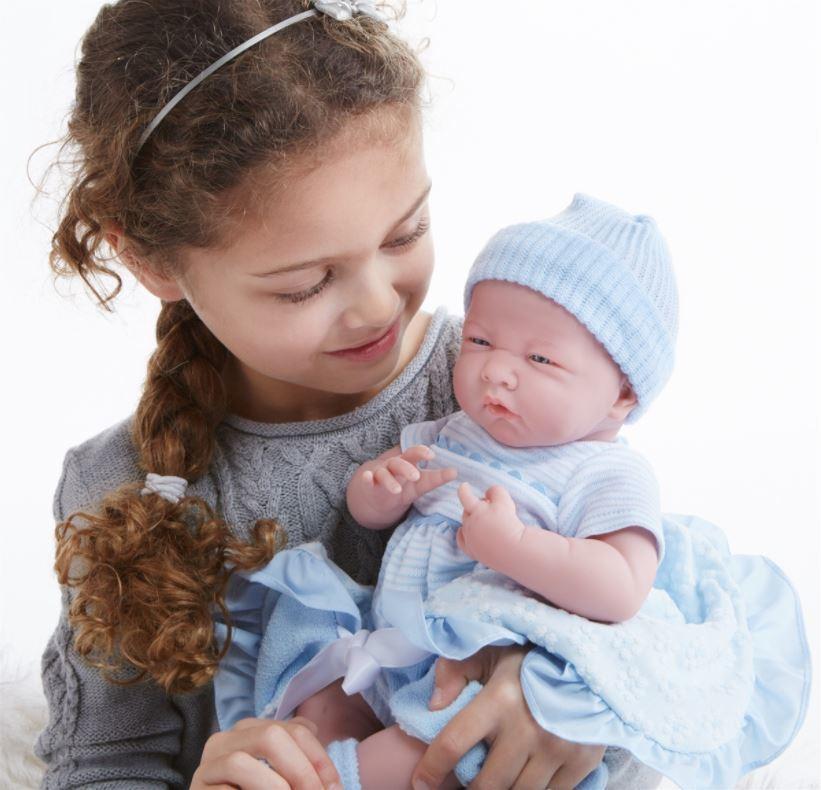 La Newborn - Soft Body Baby Doll with Blue Bunting image