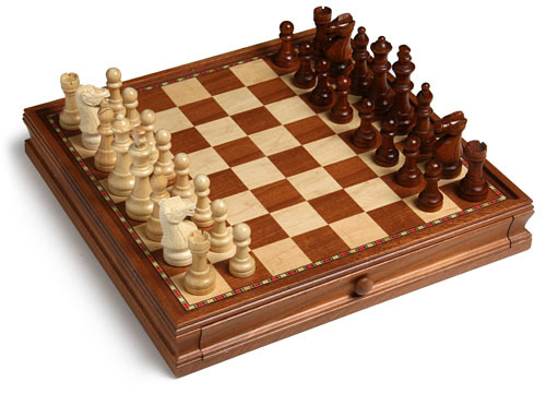Chess and Checker Set with Drawers